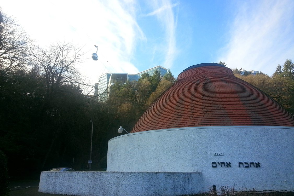 Ahavath Achim synagogue on Barbur Boulevard with Portland Aerial Tram above