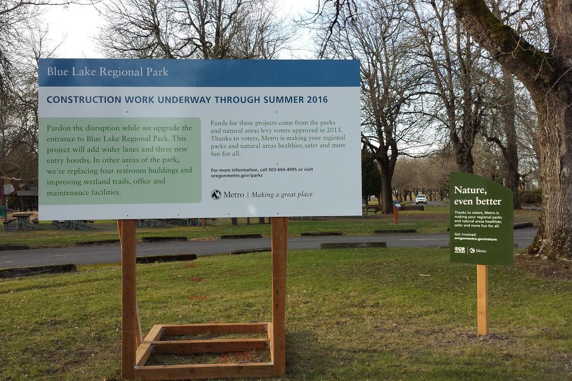 photo of Blue Lake Regional Park improvements sign