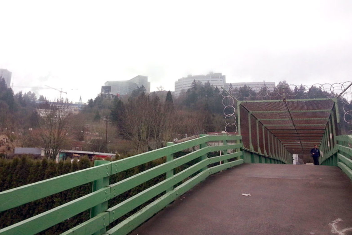 Ped bridge over Naito Parkway