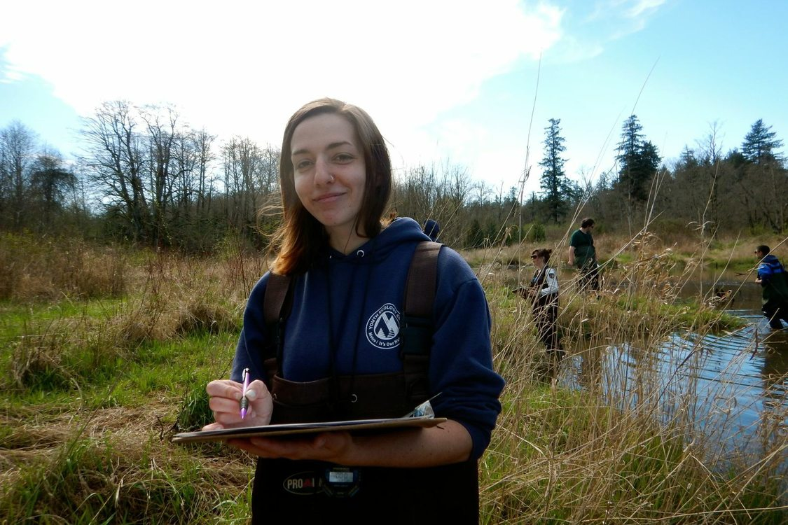 photo of YEC youth doing amphibian monitoring