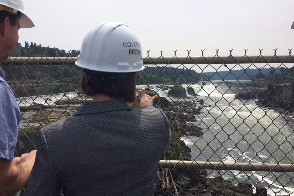 photo of Gov. Kate Brown at Willamette Falls