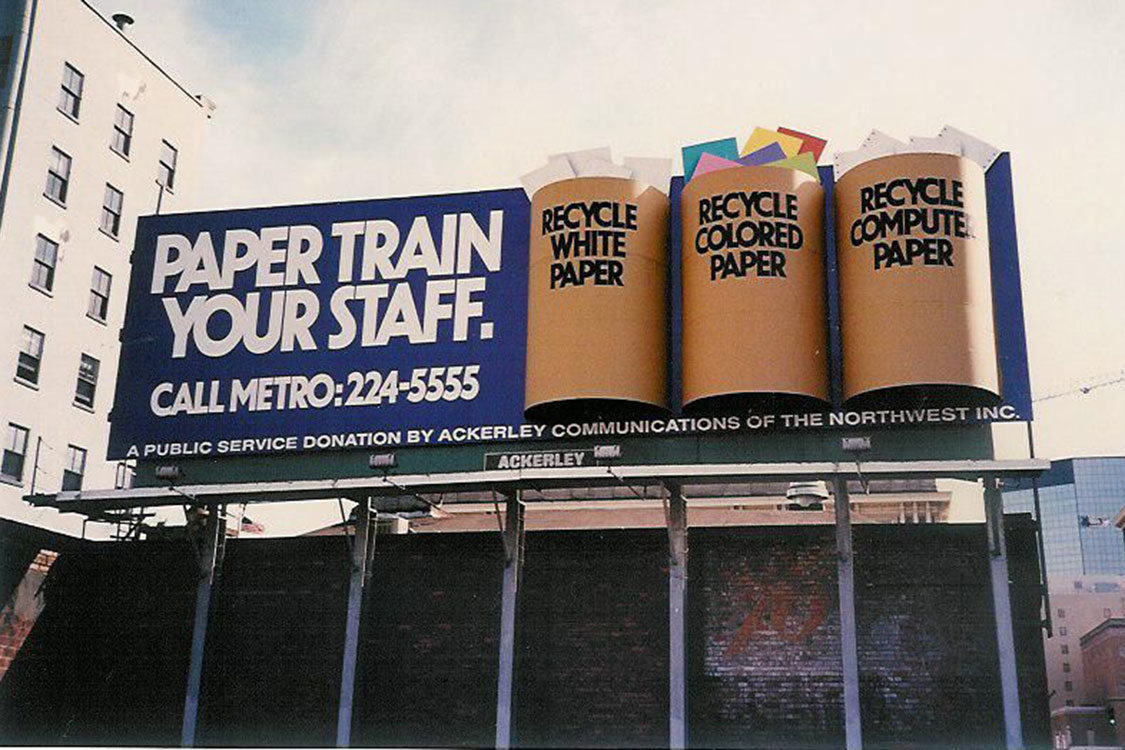 photo of paper train your staff billboard