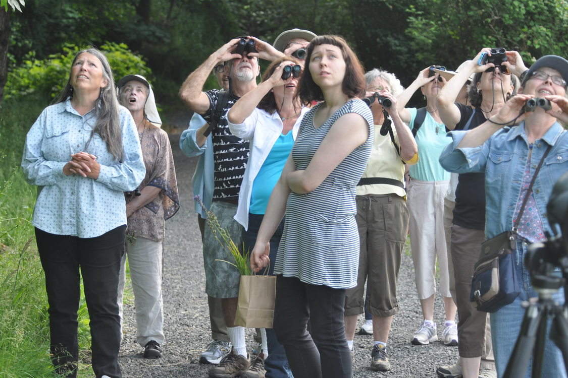 photo of Judy BlueHorse Skelton leading a group at Oaks Bottom Wildlife Refuge