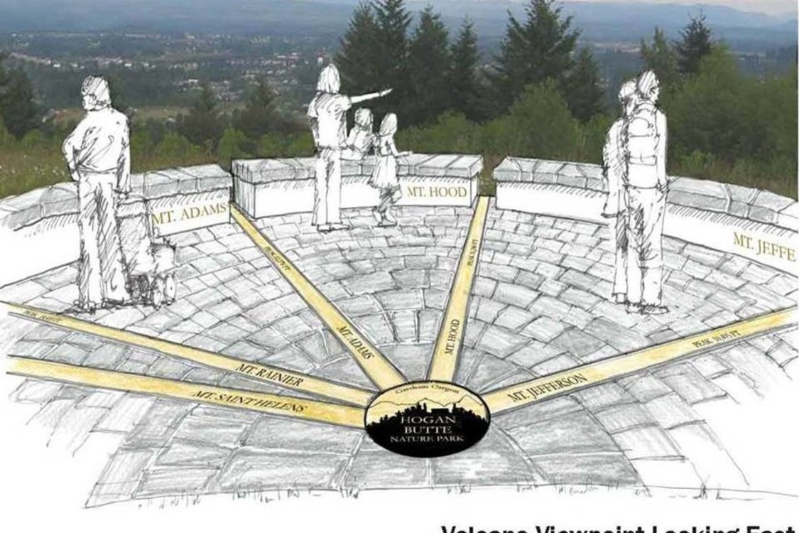 rendering of a future viewpoint on Hogan Butte Nature Park in Gresham