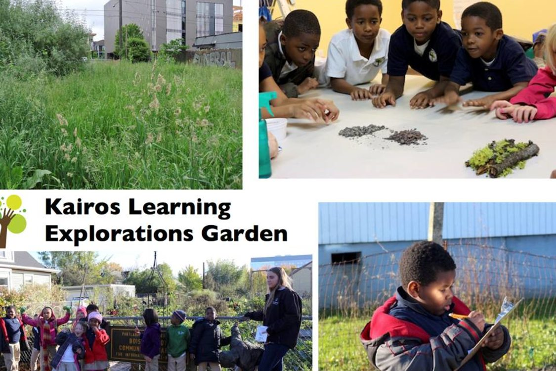photo montage of students at Kairos Learning Explorations Garden