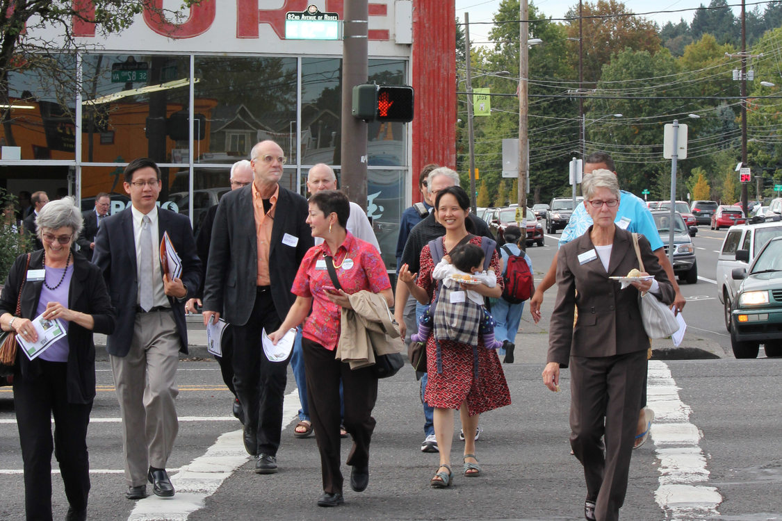 Council walking tour at 82nd and Division