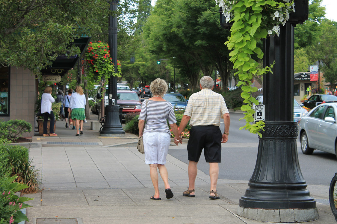 Seniors walking on A Ave., Lake Oswego