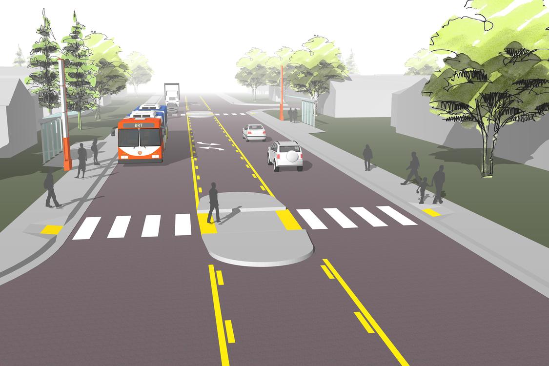 rendering of Gresham transit option