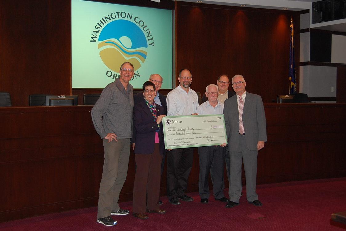 Community planning and development grant check presentation: Washington County