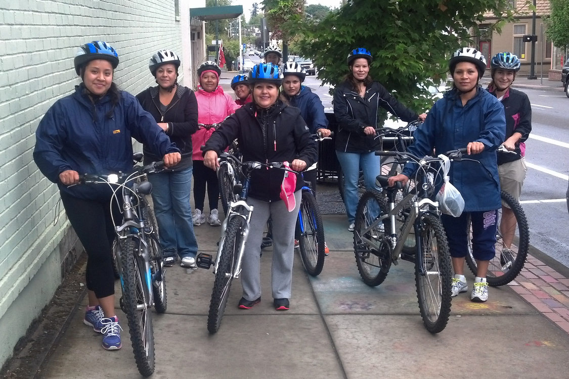 photo of bike riders in downtown Forest Grove