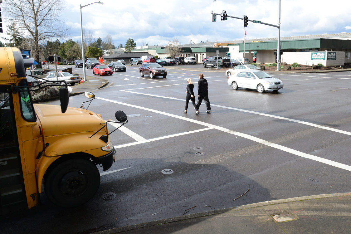 Crosswalk in southeast Tigard