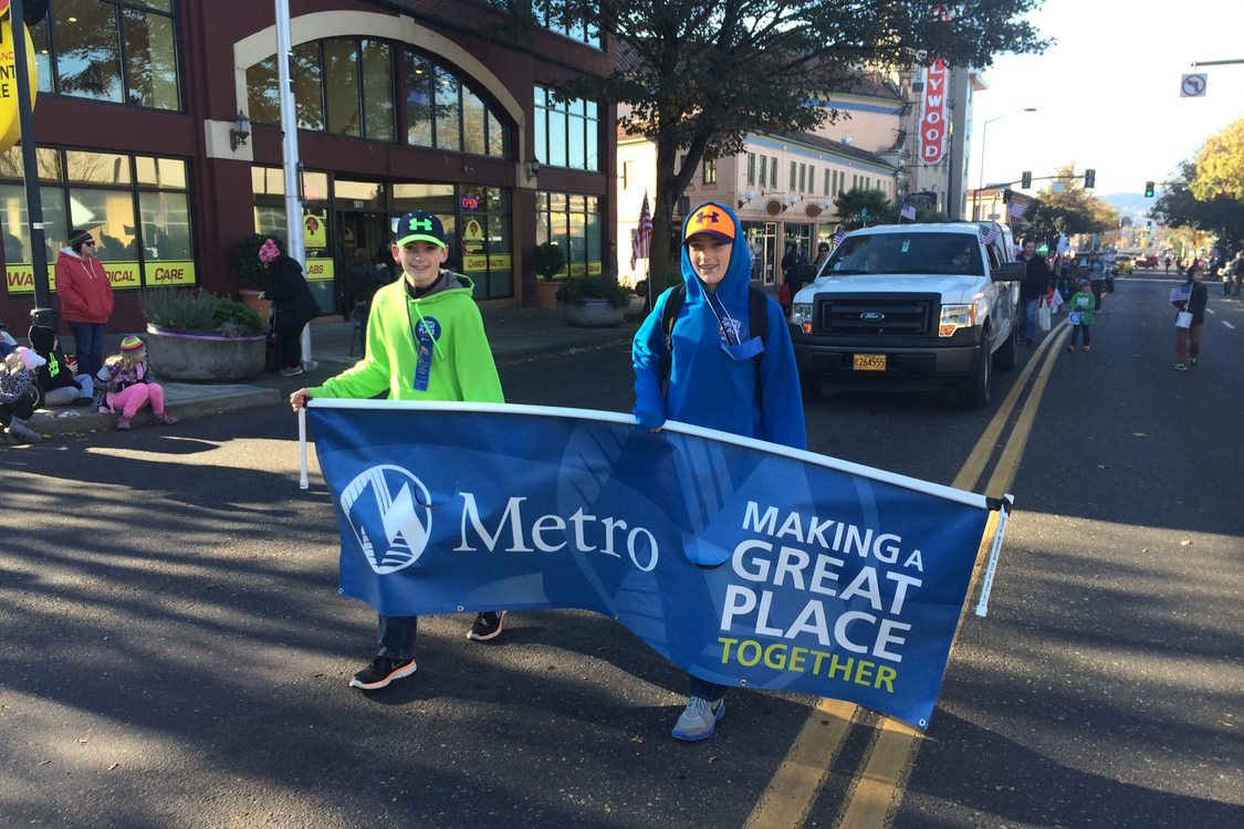 photo of marchers at Veterans Day Parade 2014