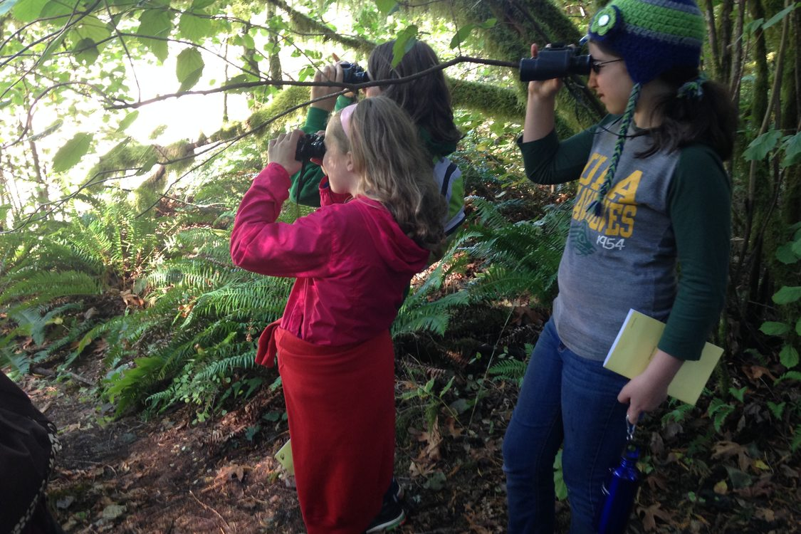 Jackson Middle School students use binoculars to look for birds and other animals along the Sandy River.