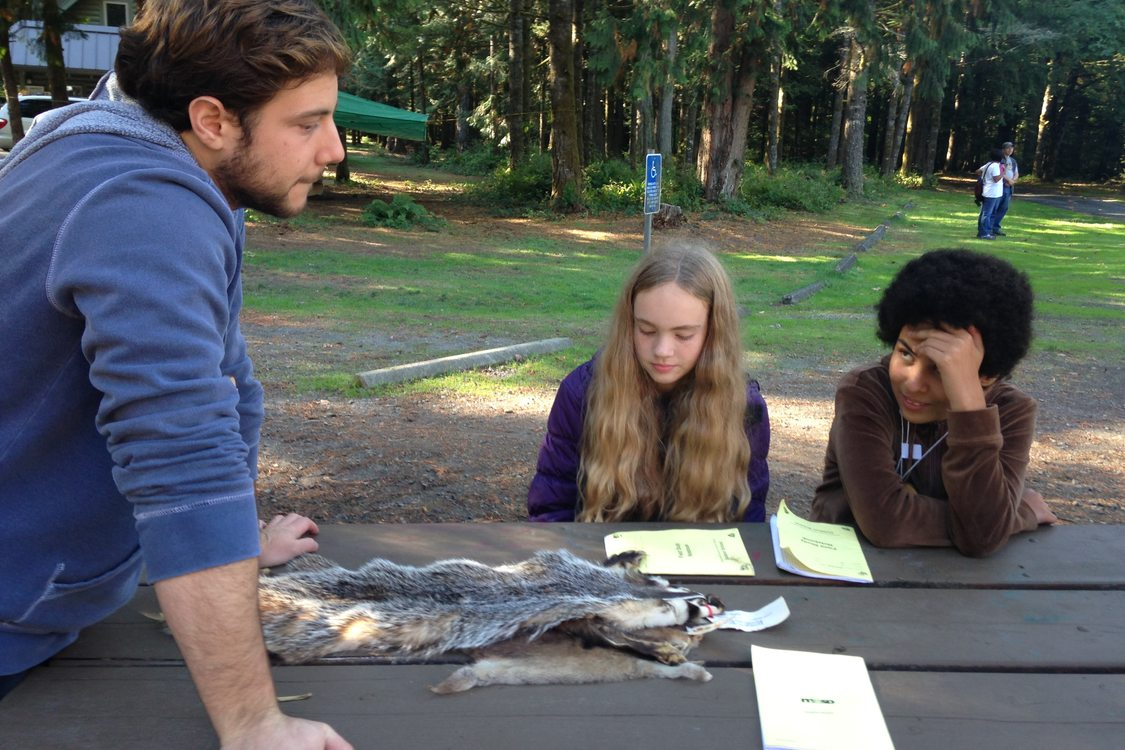 A teacher at Outdoor School shows an animal pelt to two students