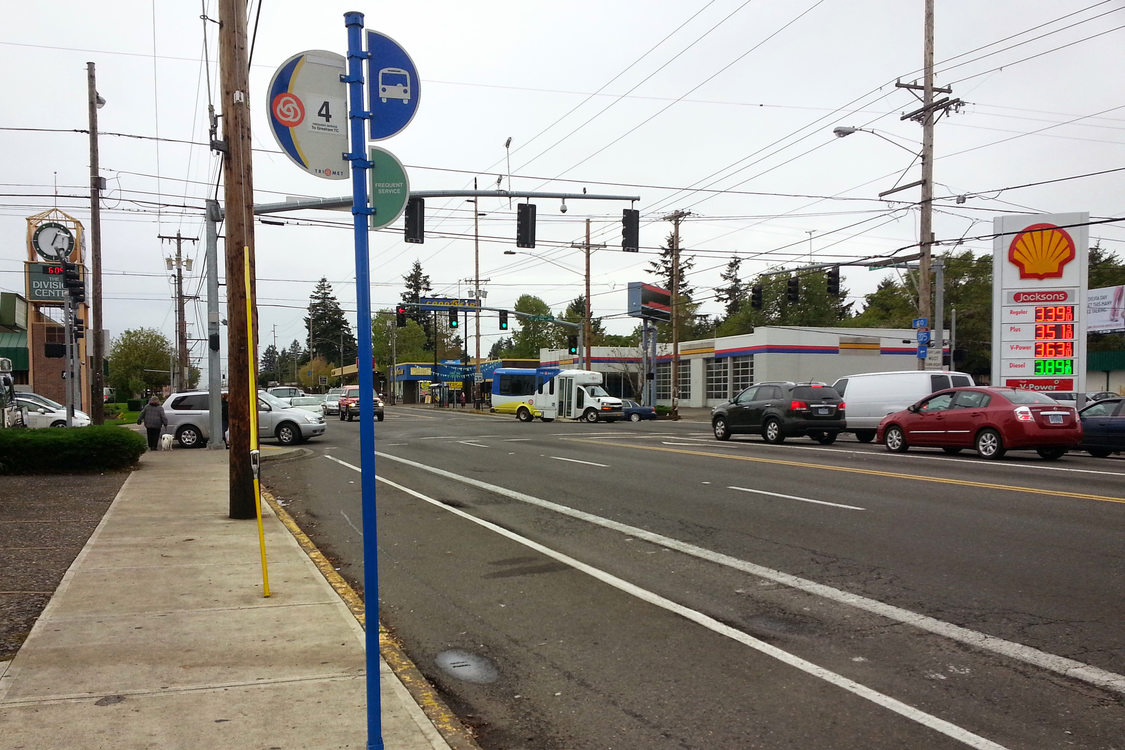 bus stop at 122nd and Division