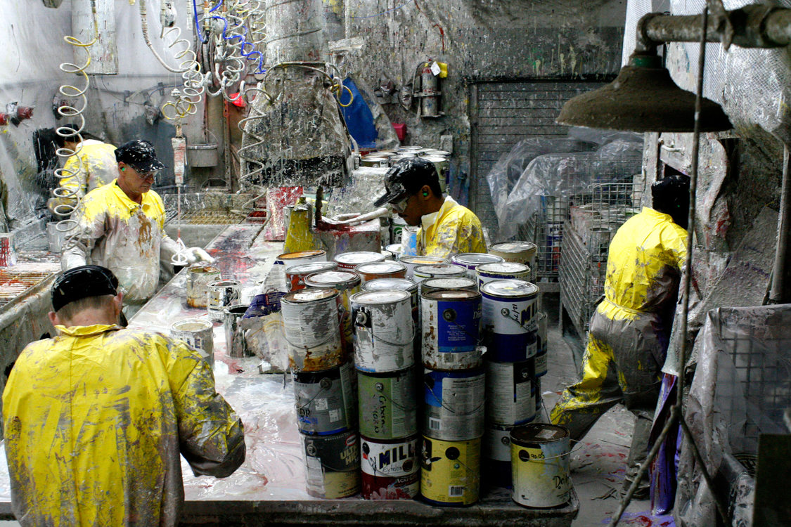 Sorting paint at the MetroPaint facility on Swan Island on Oct. 30, 2015.