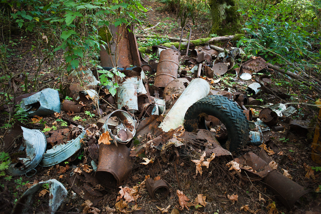 garbage and debris in Newell Creek Canyon