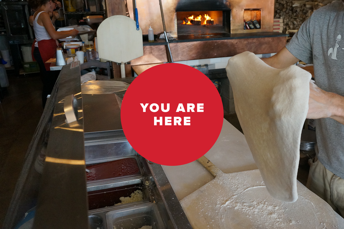 You are here -- pizza shop