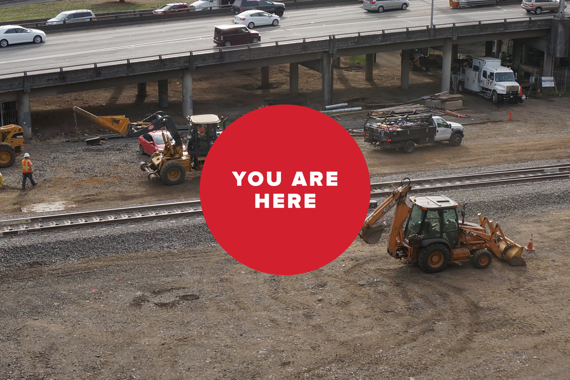 You are here -- railroad construction