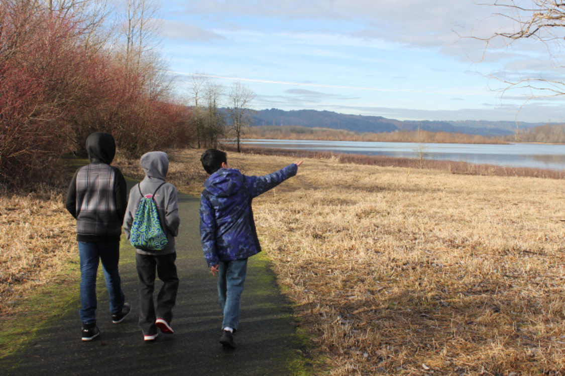 Students explore Smith and Bybee Natural Area.