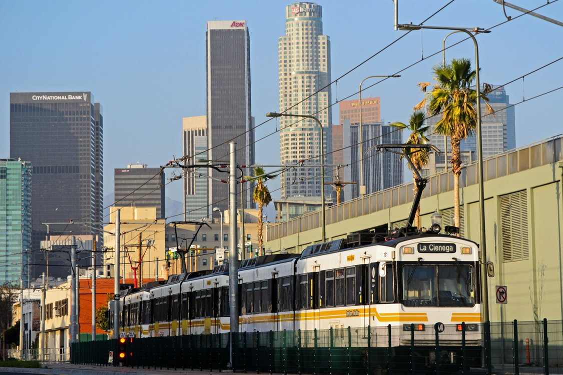 Light rail leaves downtown Los Angeles