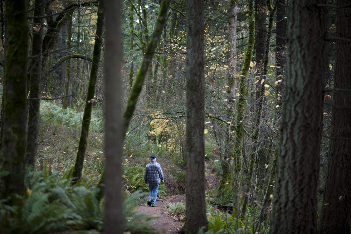 photo of a man hiking at Mount Talbert