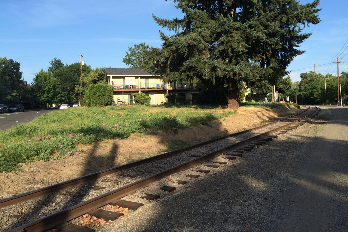 photo of train tracks in the foreground and a grassy area, tree and house in the background along the Springwater Corridor Trail