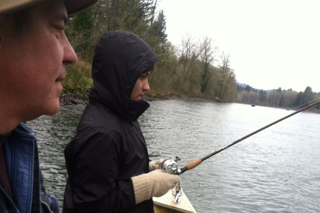 photo of Drake Butsch and son fishing on Clackamas