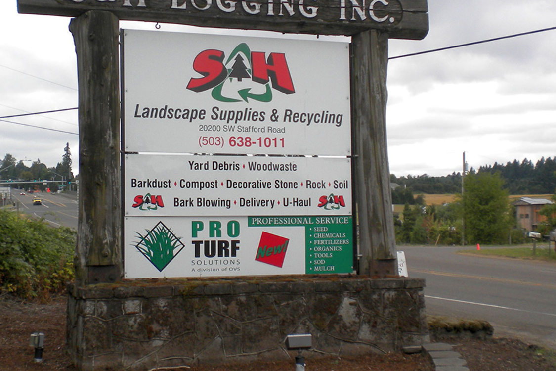 photo of S&H Logging facility entrance sign