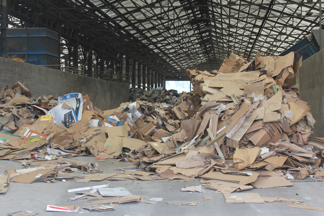 Cardboard awaits recycling at the Central Transfer Station.