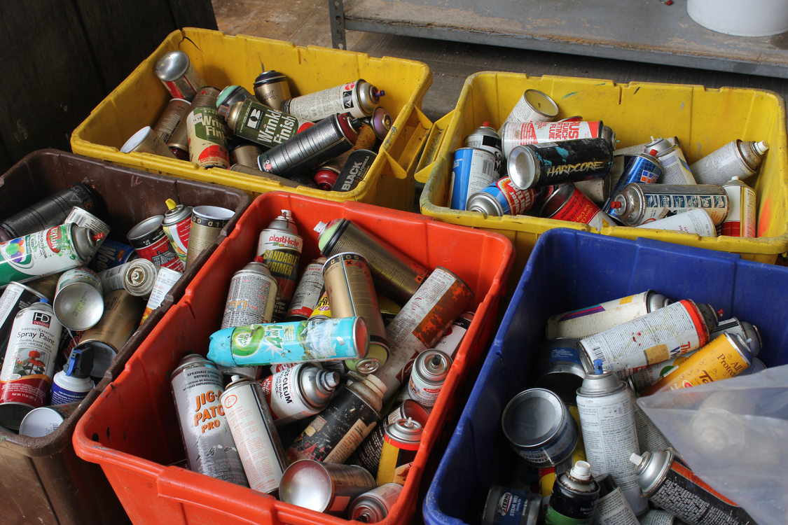 Aerosol cans collected at Metro's Hazardous Waste Facility at the Central Transfer Station.