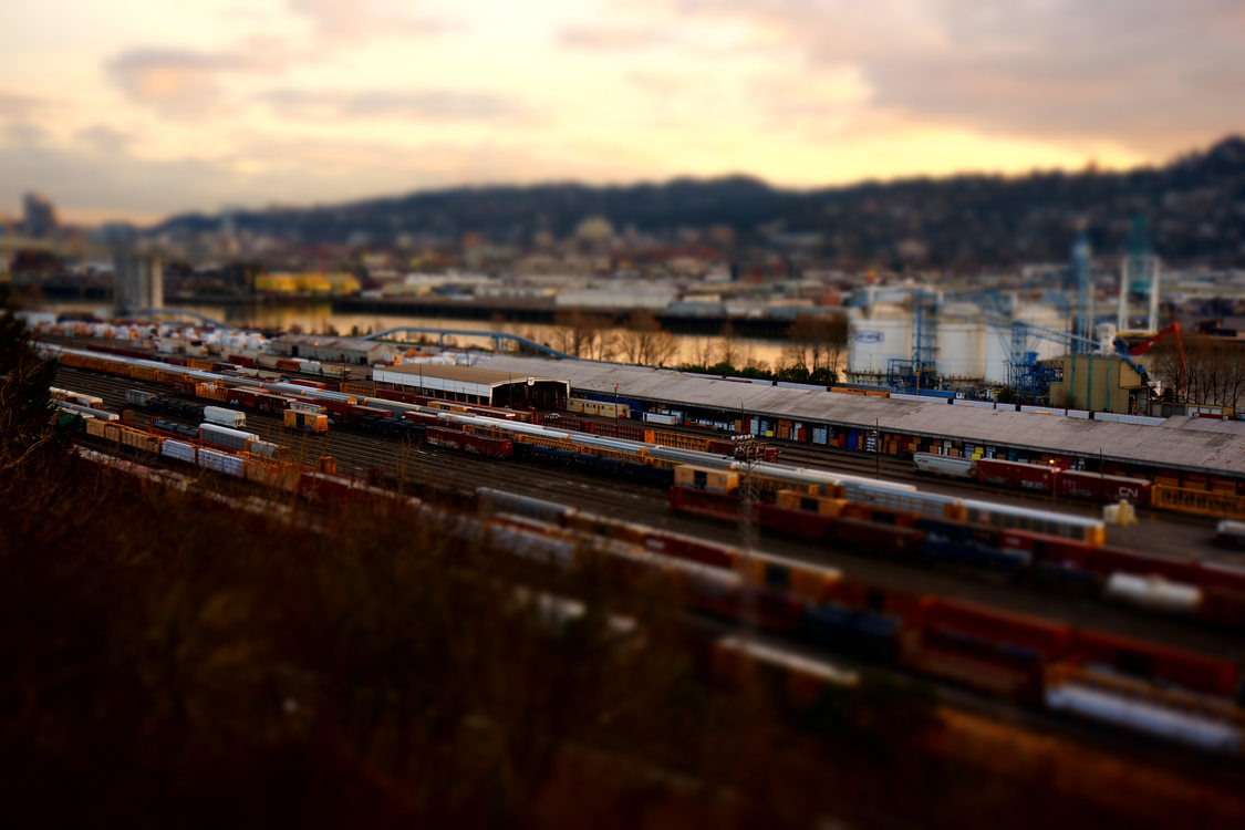 Albina railyards at sunset