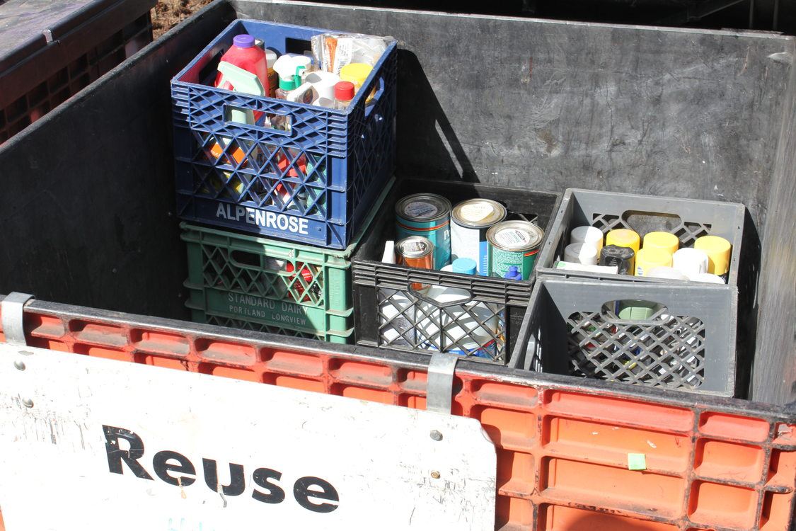 Still usable non-toxic items taken to the hazardous waste facility are donated to Habitat for Humanity.