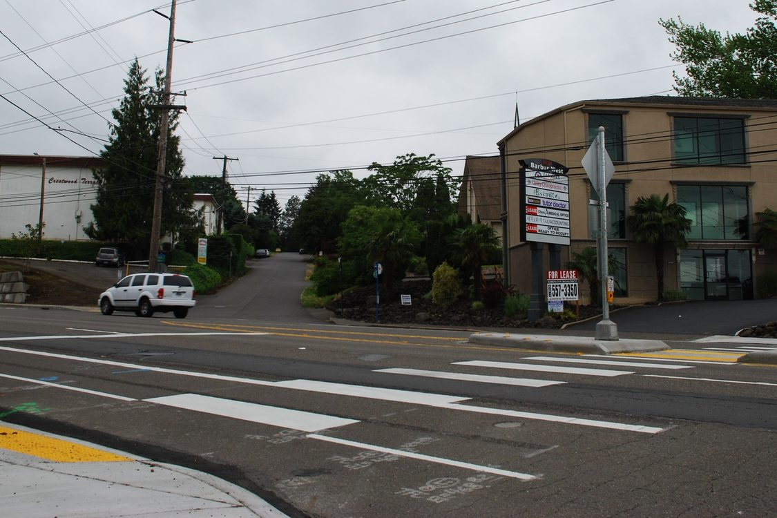 New crosswalks wtih rapid flash beacons, a pedestrian island and ADA ramps.
