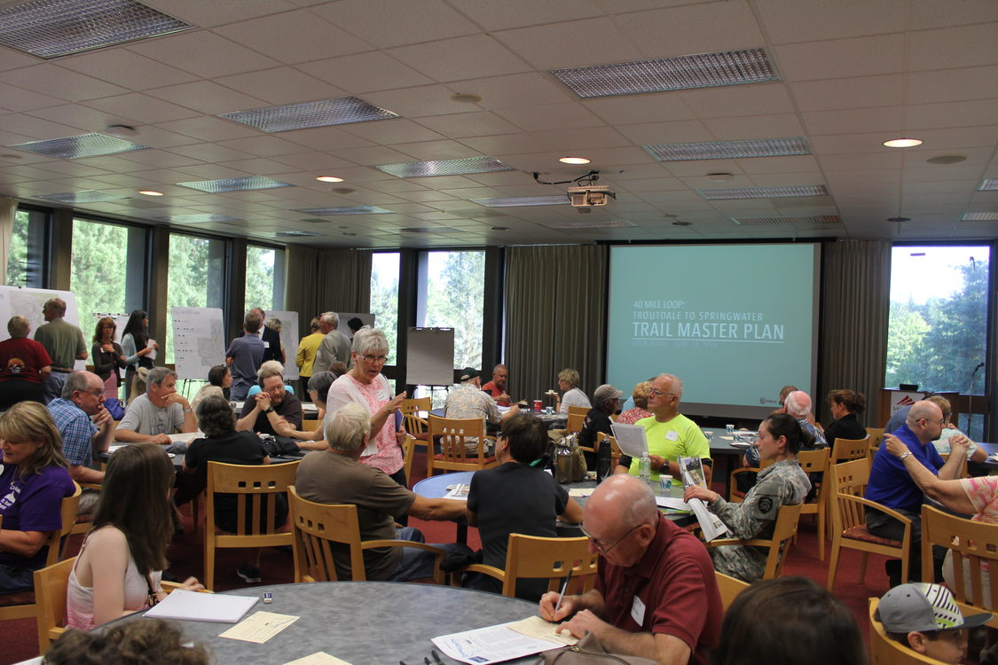 photo of people attending Troutdale to Gresham trail meeting
