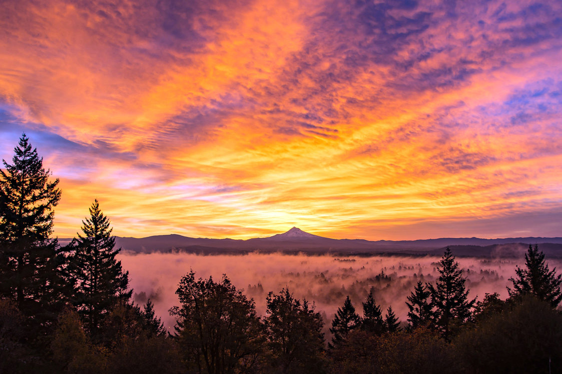 photo of Mount Hood sunrise from Rocky Butte by Darrell Wyatt