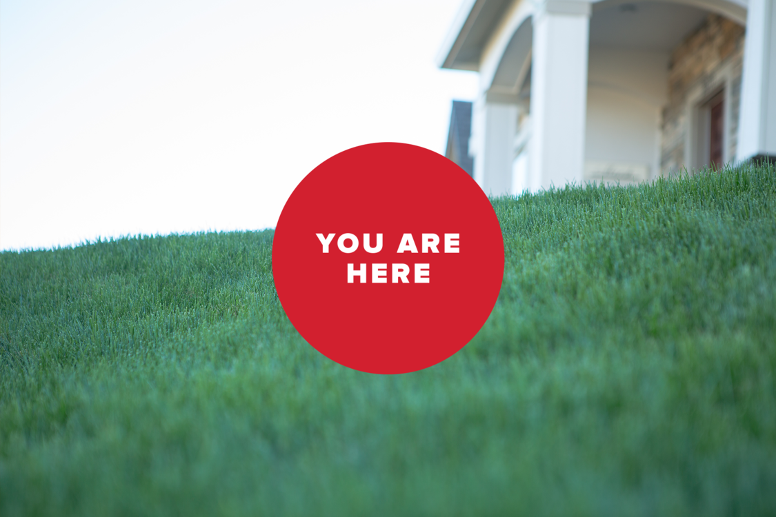 You are here dot with grass and house: Portland housing affordability