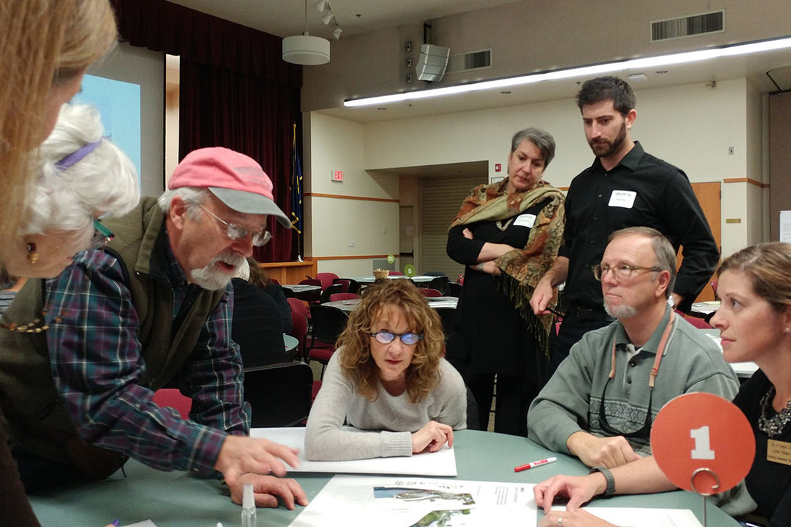 Willamette Falls riverwalk open house workshop small group