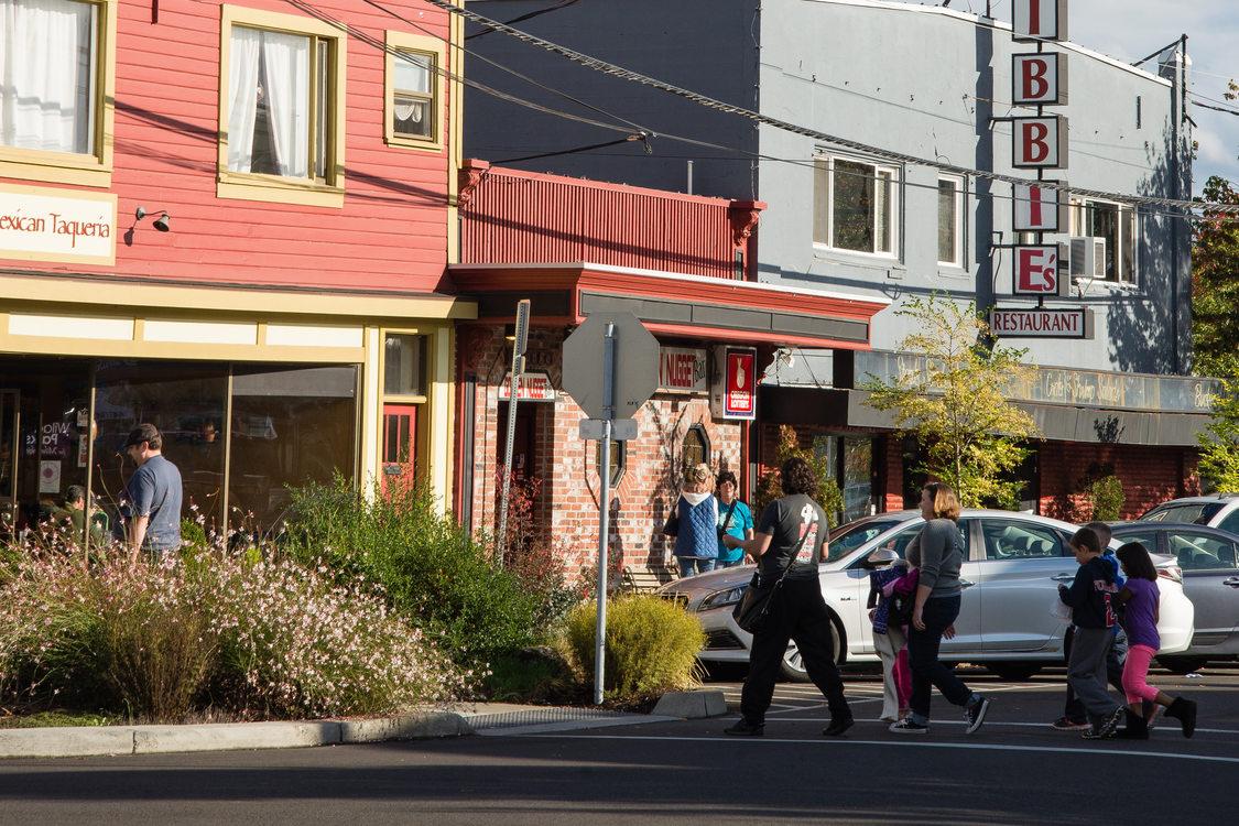 People walking in downtown Milwaukie