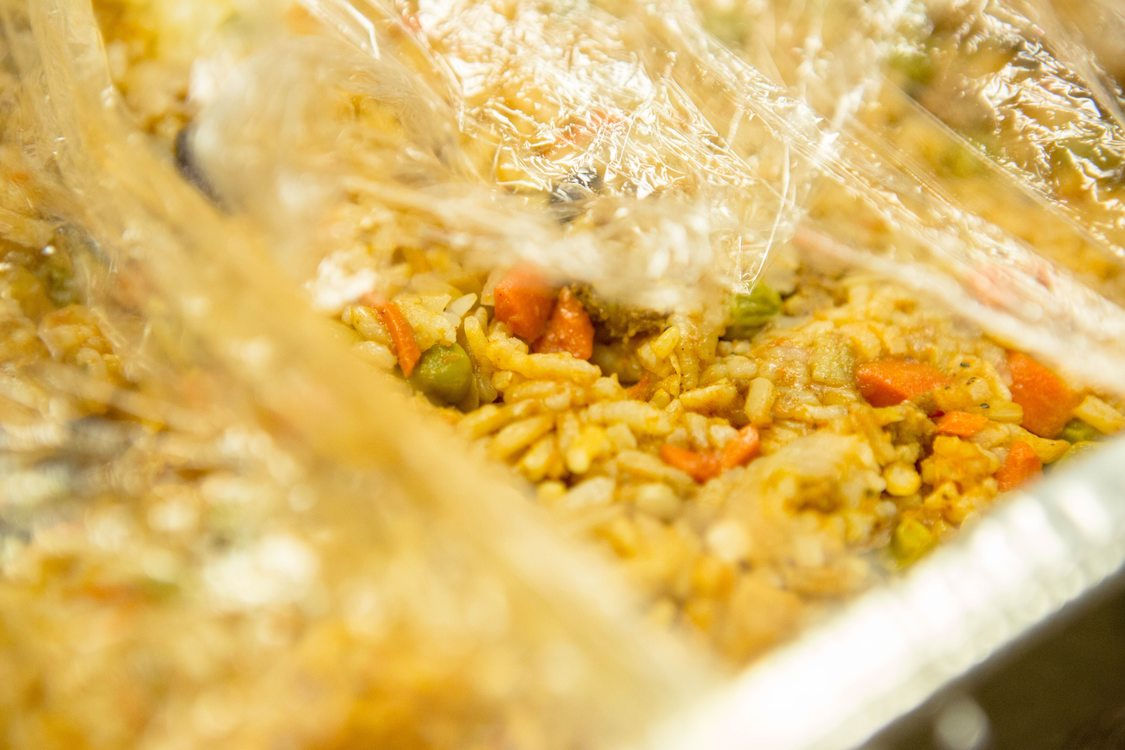 fried rice donated to a food donation kitchen