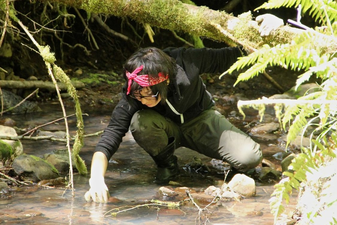 photo of Mae Esquibel, volunteer amphibian egg mass monitor