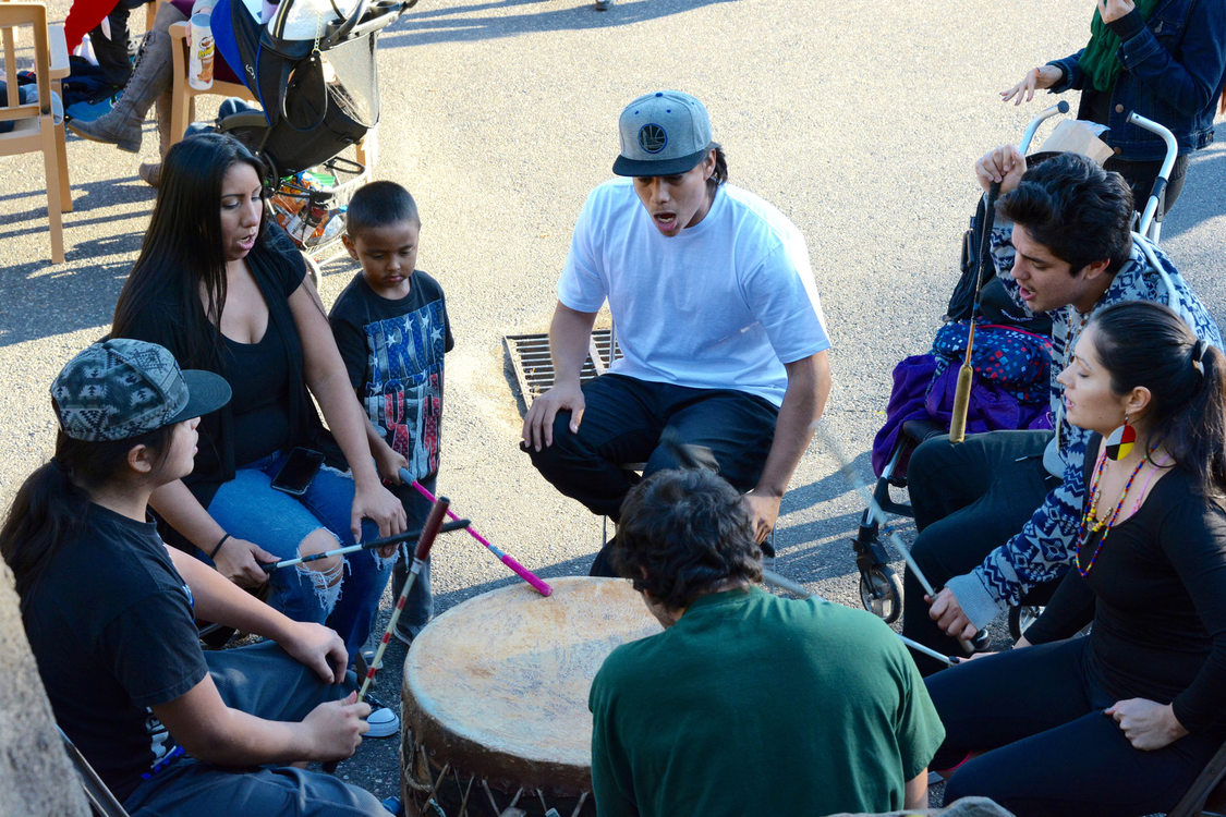 photo of drummers at Indigenous Peoples' Day