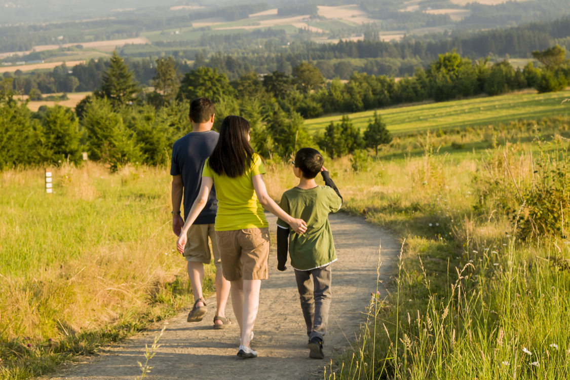 photo of a family walking at Cooper Mountain Nature Park