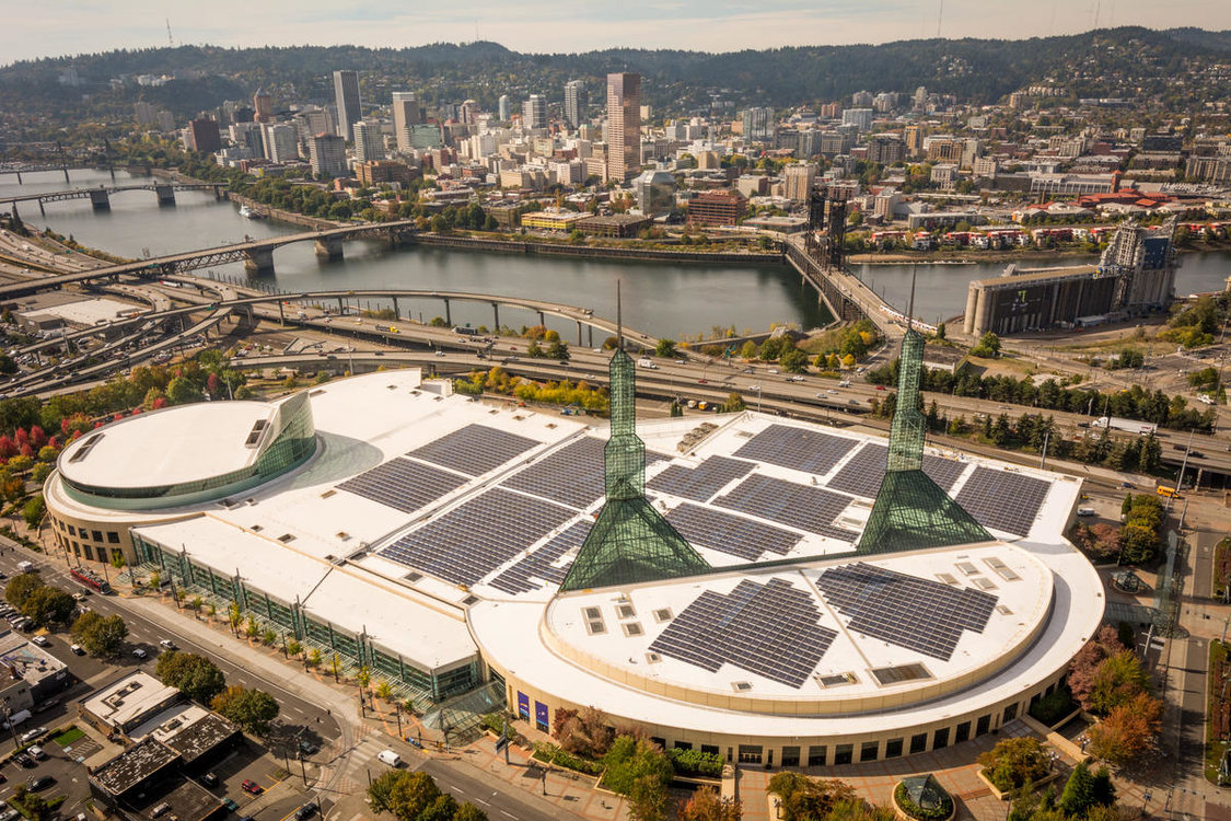 photo of solar array at Oregon Convention Center