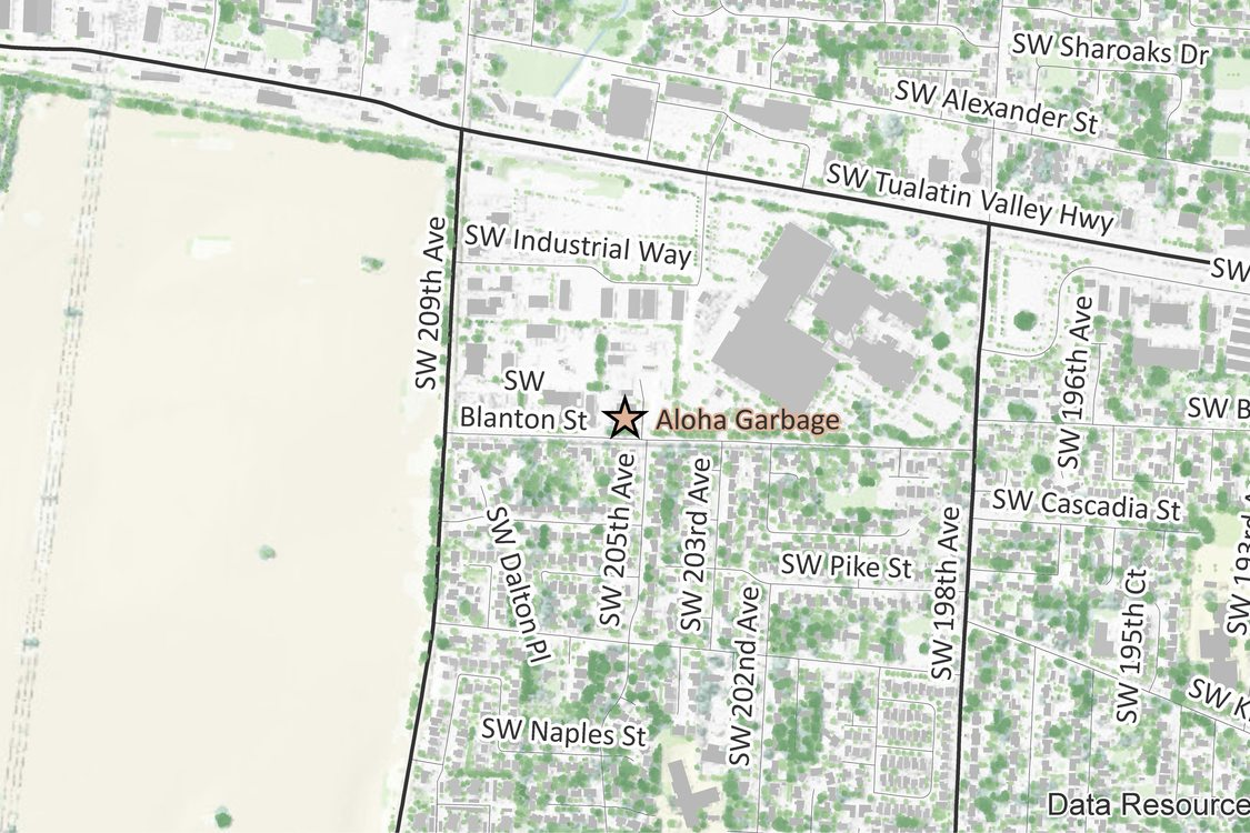 Map of Aloha Garbage Company