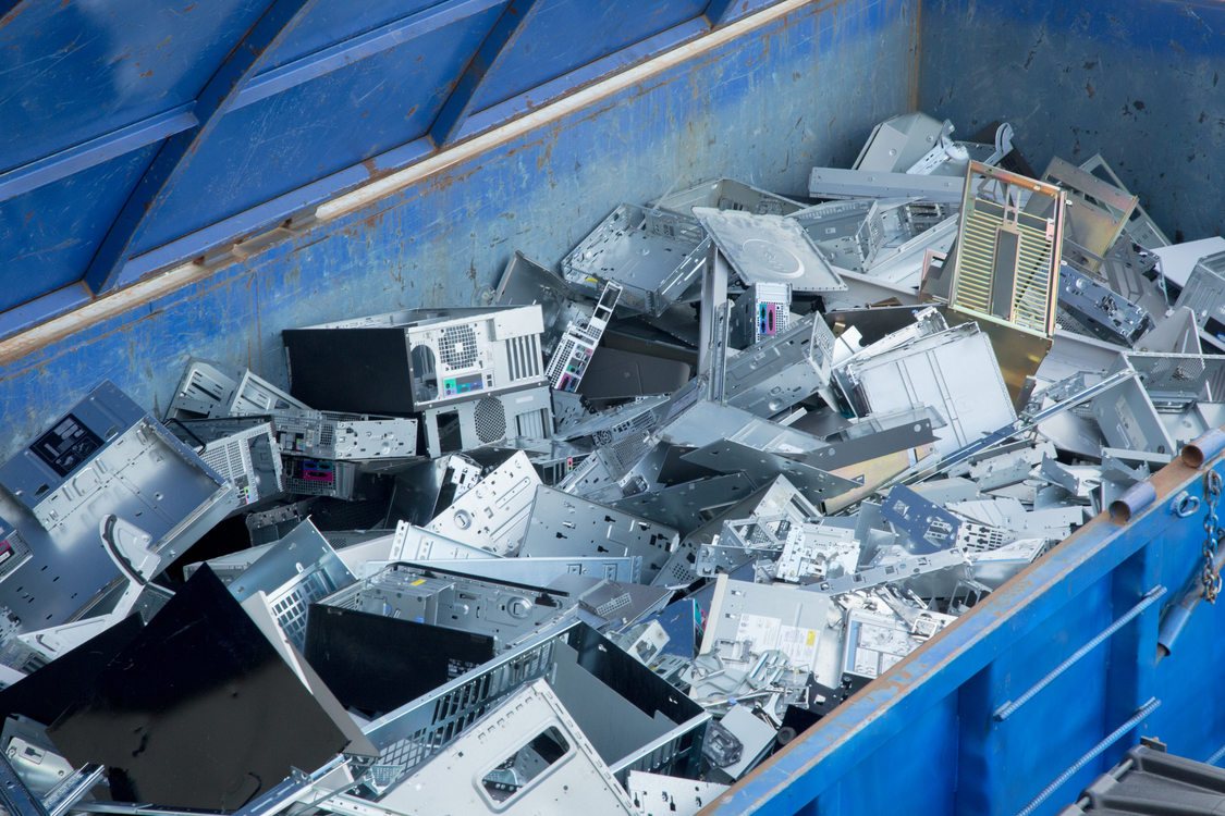 bin filled with scrap metal from electronics to be recycled
