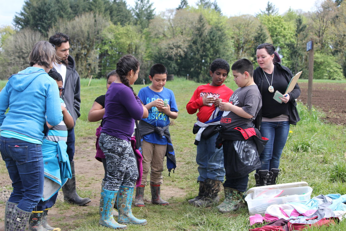 children attending a garden education program at Sauvie Island Center