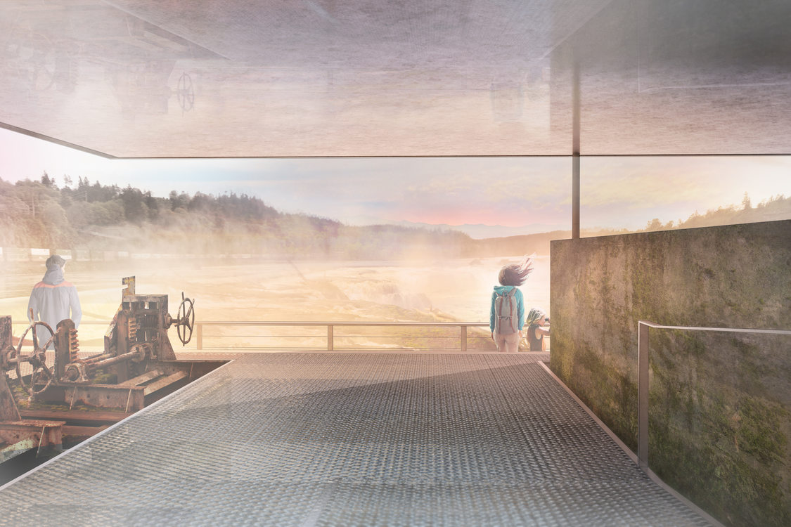 rendering of Willamette Falls viewpoint