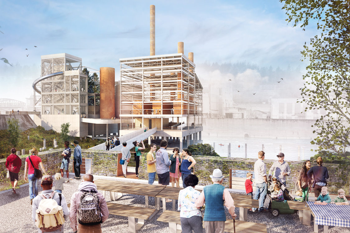 rendering of Mill H and boiler complex overlook and woolen mill