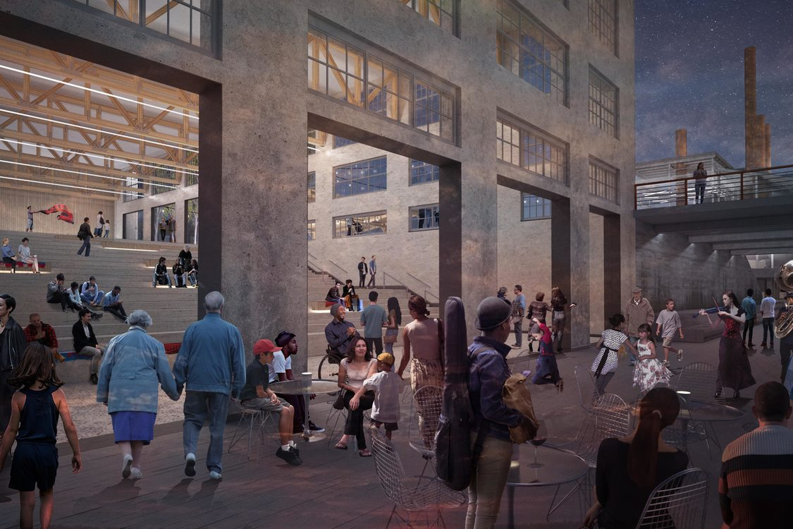rendering of Willamette Falls public gathering space at Mill O